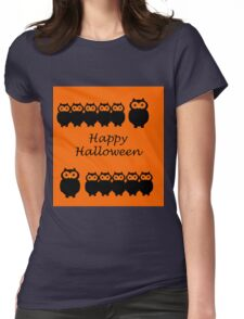 Happy Halloween - owl design Womens Fitted T-Shirt