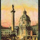 A digital painting of the Trajan's Pillar, Rome, Italy 113 CE by Dennis Melling
