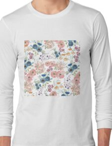 Watercolor field floral hand paint Long Sleeve T-Shirt