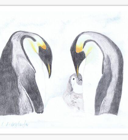 Pinguin-Familie mit Baby Sticker
