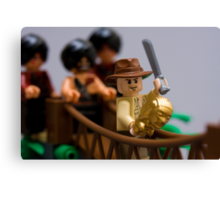 Lego Indy on the rope bridge Canvas Print