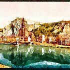 A digital painting of The Dinant, I, Belgium in the 19th century by Dennis Melling