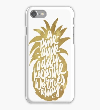 Gold pineapple a day iPhone Case/Skin