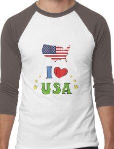 I love the united states of america Men's Baseball ¾ T-Shirt