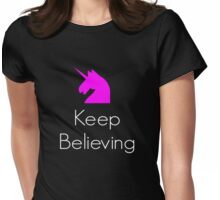 KEEP BELIEVING UNICORN Womens Fitted T-Shirt