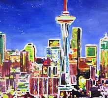 Neon Shimmering Skyline of Seattle With Space Needle  by artshop77