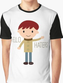 Cool Funny Vintage Cartoon Hipster Design - Hello Haters Graphic T-Shirt