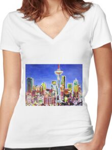 Neon Shimmering Skyline of Seattle With Space Needle  Women's Fitted V-Neck T-Shirt