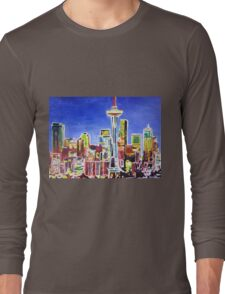 Neon Shimmering Skyline of Seattle With Space Needle  Long Sleeve T-Shirt