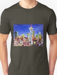 Neon Shimmering Skyline of Seattle With Space Needle  Unisex T-Shirt