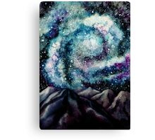Watercolor Spiral Galaxy and Mountains Canvas Print
