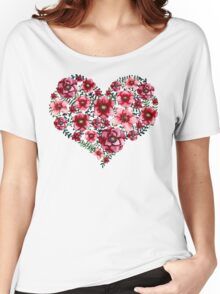 Watercolor Floral Heart with Bright Red Flowers and Green Leaves Women's Relaxed Fit T-Shirt