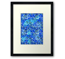 Abstract Wave on Blue Framed Print