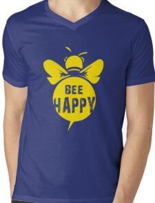 Bee Happy Cool Bee Graphic Typo Design Mens V-Neck T-Shirt