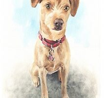 scrappy dog watercolor by Mike Theuer