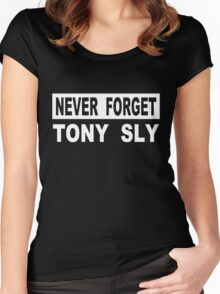 never forget tony sly Women's Fitted Scoop T-Shirt