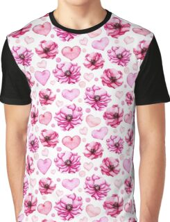 Watercolor Bright Pink Flowers and Hearts Seamless Floral Pattern Graphic T-Shirt