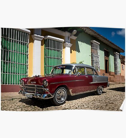 American car from the 50's in Trinidad, Cuba Poster