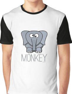 Funny Monkey Elephant Design Graphic T-Shirt