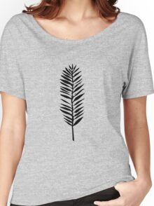 Palm leaves, Nature lover, Linocut pattern Women's Relaxed Fit T-Shirt