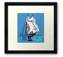Deep Blue Ocean Love Sailing Design Framed Print