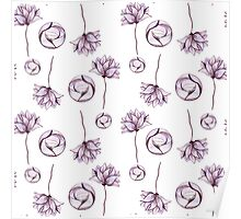 Watercolor Abstract Circles and Light Purple Flowers Poster