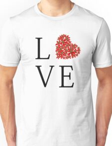 Love - Floral Red Heart  Unisex T-Shirt