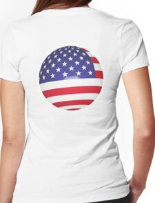 American Flag, Ball, Globe, Sphere, Stars & Stripes, Pure & Simple, America, USA, on white Womens Fitted T-Shirt