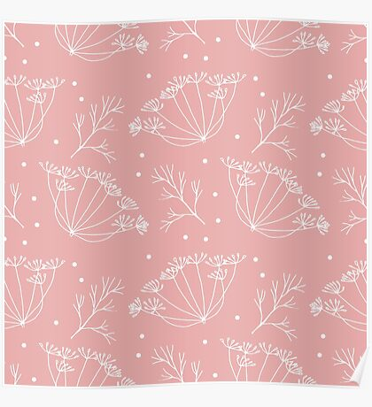 Retro pattern with fennel flowers Poster