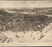 Vintage Pictorial Map of Boston (1905) (2)  by BravuraMedia