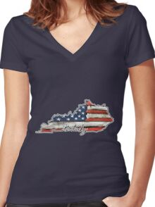Kentucky State Outline Women's Fitted V-Neck T-Shirt