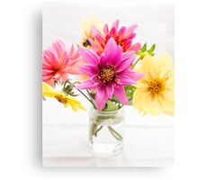 pink and yellow dahlia flowers in jam jar Canvas Print