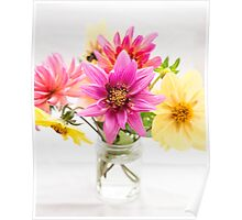 pink and yellow dahlia flowers in jam jar Poster