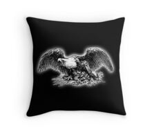 War Eagle, USA, America, American, Library of Congress, on black Throw Pillow