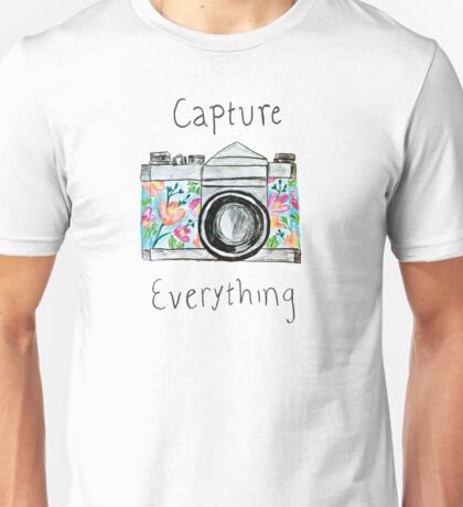 """Capture Everything"" Floral Camera Unisex T-Shirt"