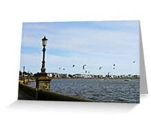 Kite Surfing at Poole Harbour. Greeting Card