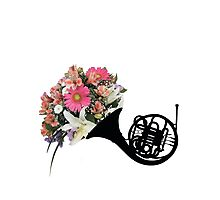 Floral French Horn Photographic Print