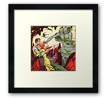 A creature attacking a couple vintage comic book pop art Framed Print