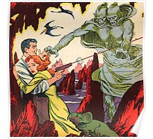 A creature attacking a couple vintage comic book pop art Poster