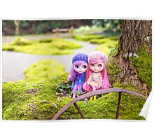 Blythe dolls in the Japanese Garden Poster