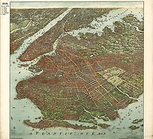 Vintage Map of Brooklyn NY (1908) by BravuraMedia