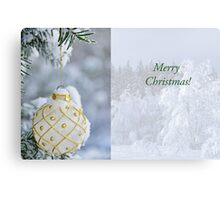 White Christmas bulb in snow Canvas Print