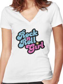 Rock n' Roll Girl Women's Fitted V-Neck T-Shirt