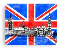 Oh So British - Union Jack Flag And Westminster Canvas Print