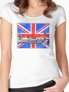 Oh So British - Union Jack Flag And Westminster Women's Fitted Scoop T-Shirt