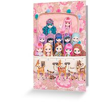 Blythes in a vintage suitcase with some bambi friends Greeting Card