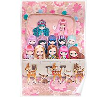 Blythes in a vintage suitcase with some bambi friends Poster