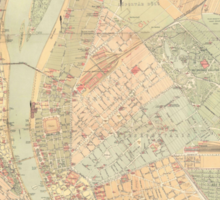 Vintage Map of Budapest Hungary (1884) Sticker