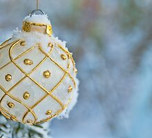 White Christmas bulb in snow by GryThunes