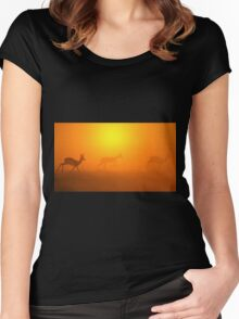 Springbok Silhouette - Wildlife Background of Colorful Nature Women's Fitted Scoop T-Shirt